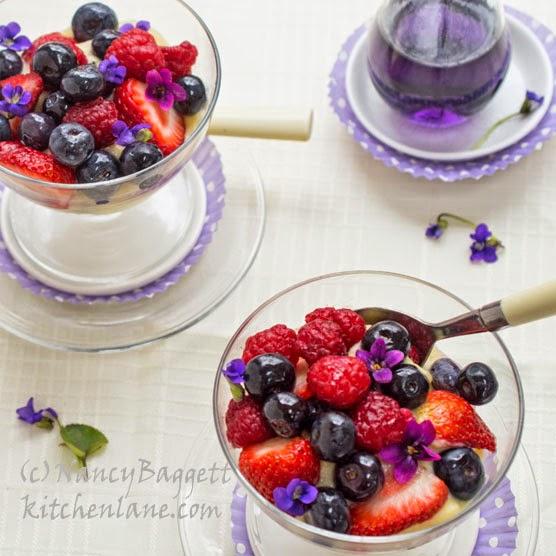 Violet-Berry Trifle Puddings, Plus Beautiful Violets Pics